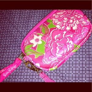 Lilly Pulitzer Wristlet In Pink Floral Design